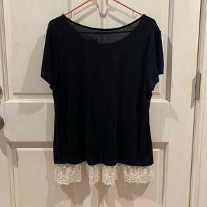 Black blouse with white ruffle